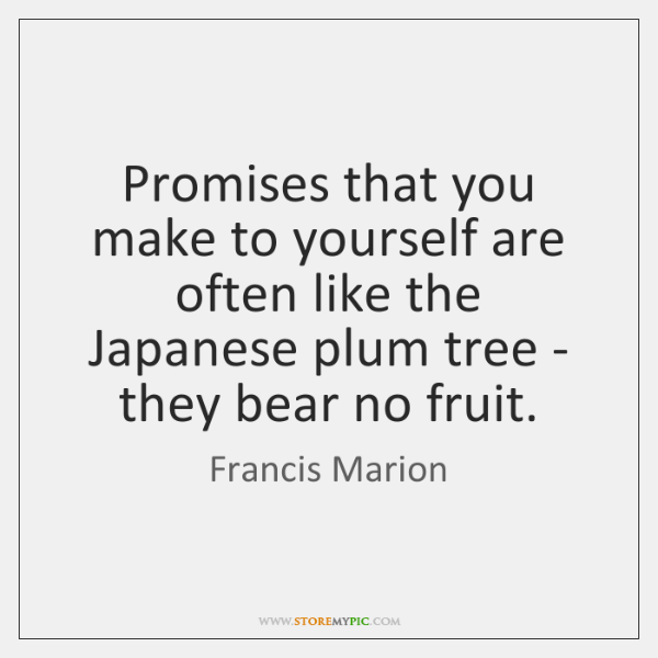 Promises that you make to yourself are often like the Japanese plum ...