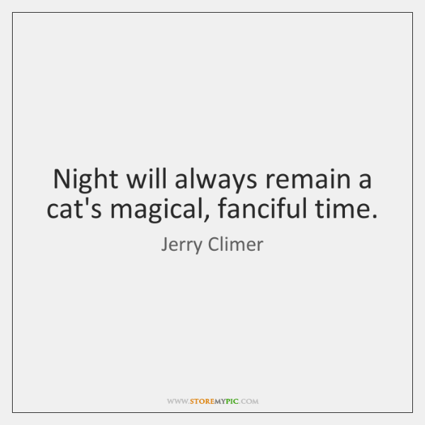 Night will always remain a cat's magical, fanciful time.