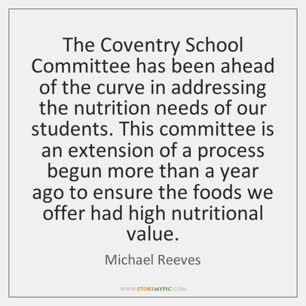 The Coventry School Committee has been ahead of the curve in addressing ...