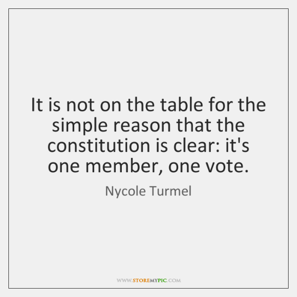 It is not on the table for the simple reason that the ...