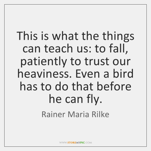This is what the things can teach us: to fall, patiently to ...