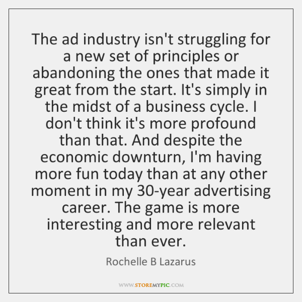 The ad industry isn't struggling for a new set of principles or ...