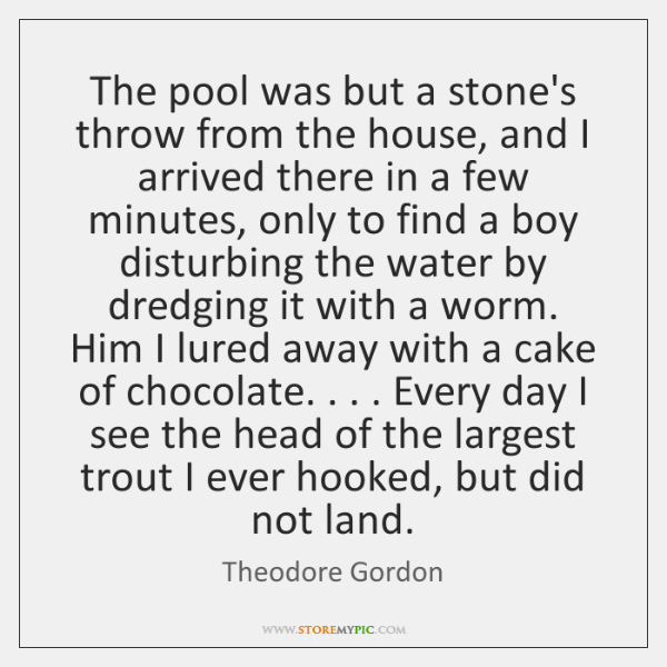 The pool was but a stone's throw from the house, and I ...