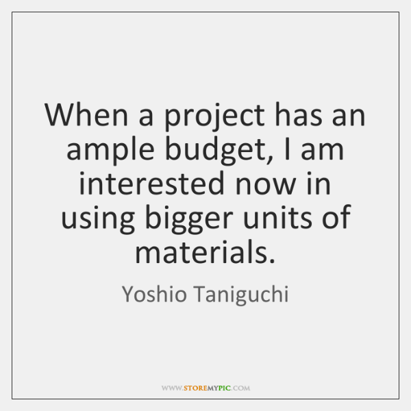 When a project has an ample budget, I am interested now in ...