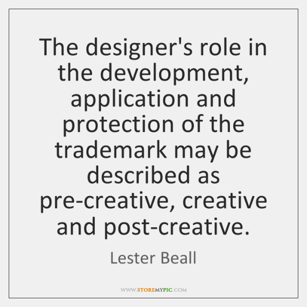 The designer's role in the development, application and protection of the trademark ...