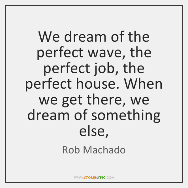 We dream of the perfect wave, the perfect job, the perfect house. ...