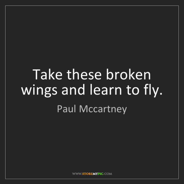 Paul Mccartney: Take these broken wings and learn to fly.