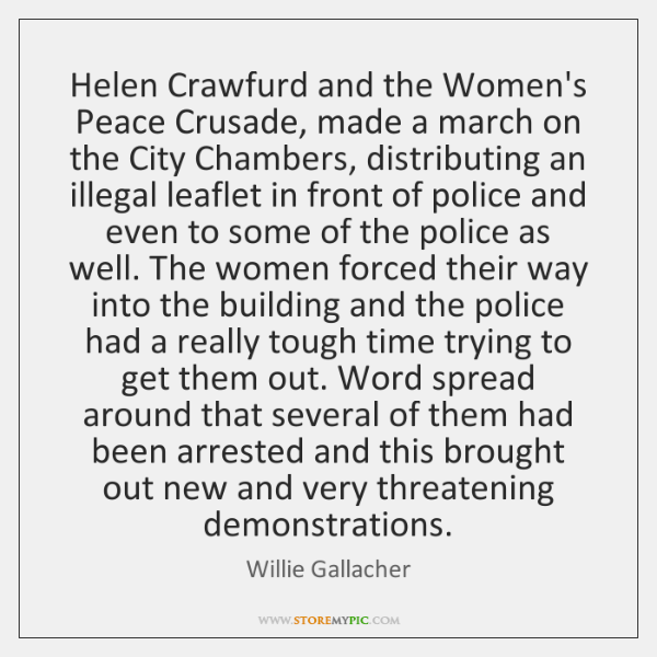 Helen Crawfurd and the Women's Peace Crusade, made a march on the ...