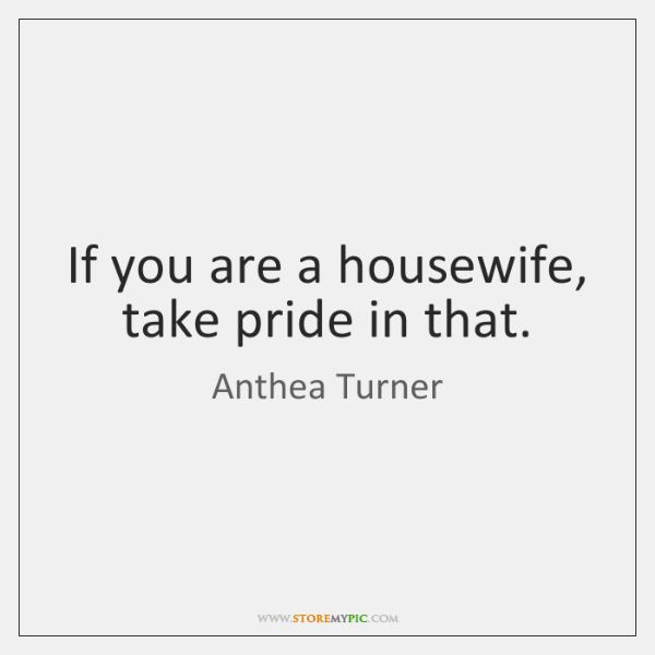 If you are a housewife, take pride in that.