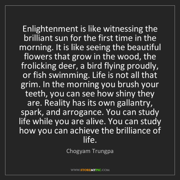 Chogyam Trungpa: Enlightenment is like witnessing the brilliant sun for...