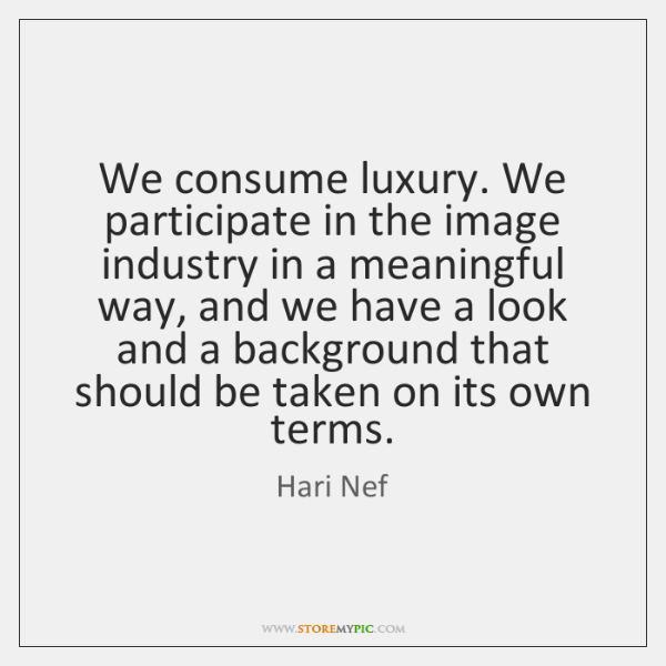 We consume luxury. We participate in the image industry in a meaningful ...