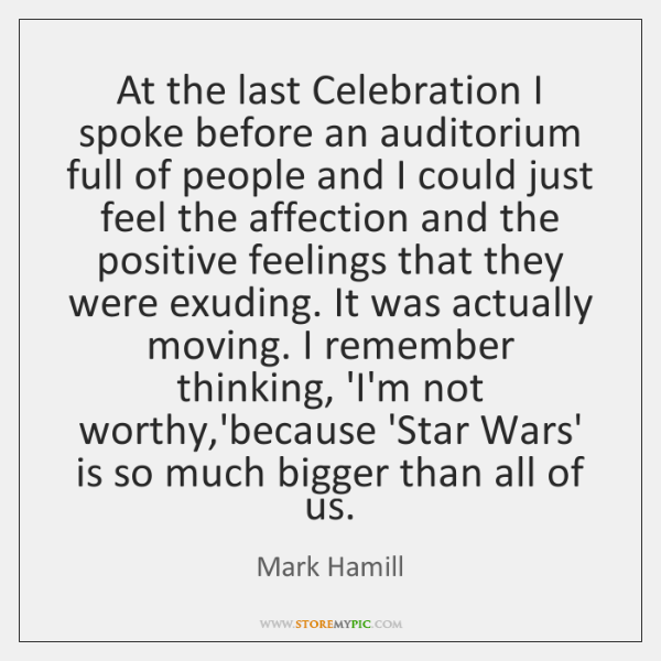 At the last Celebration I spoke before an auditorium full of people ...