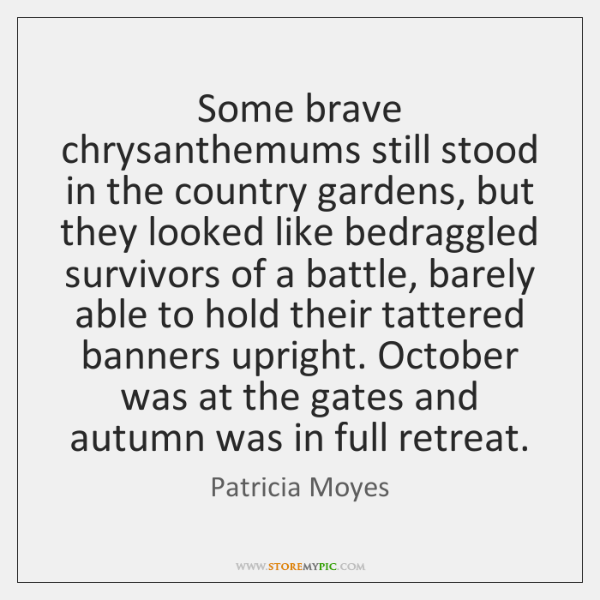 Some brave chrysanthemums still stood in the country gardens, but they looked ...