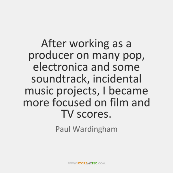 After working as a producer on many pop, electronica and some soundtrack, ...