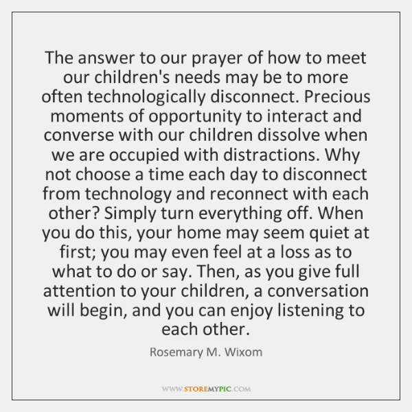 The answer to our prayer of how to meet our children's needs ...