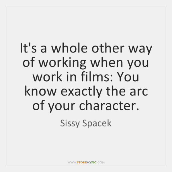 It's a whole other way of working when you work in films: ...