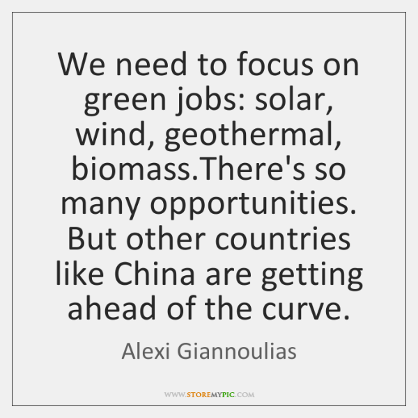 We need to focus on green jobs: solar, wind, geothermal, biomass.There's ...