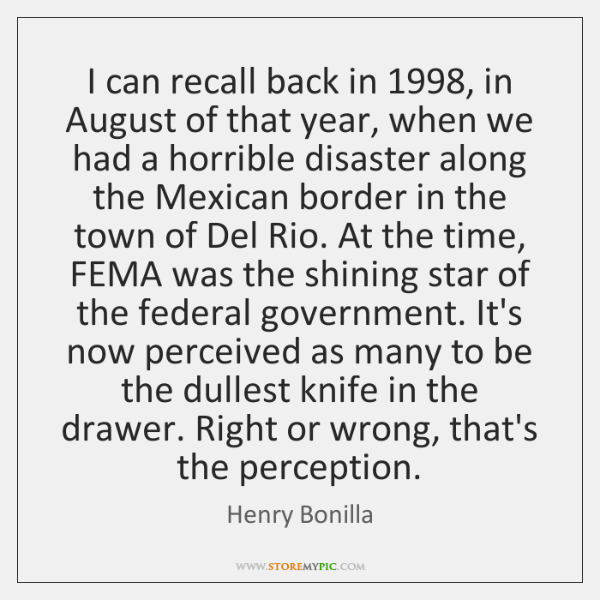 I can recall back in 1998, in August of that year, when we ...