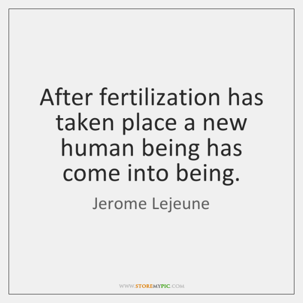 After fertilization has taken place a new human being has come into ...