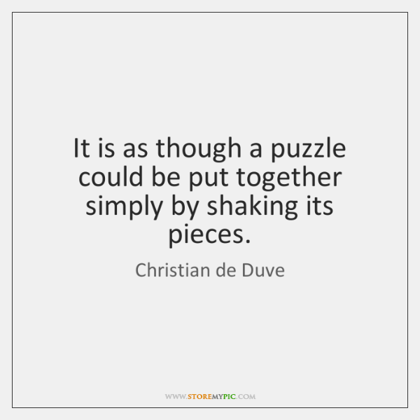 It is as though a puzzle could be put together simply by ...