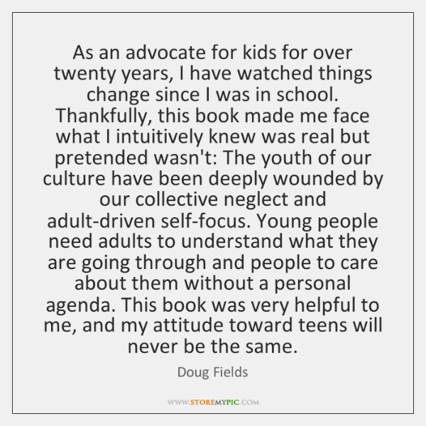 As an advocate for kids for over twenty years, I have watched ...