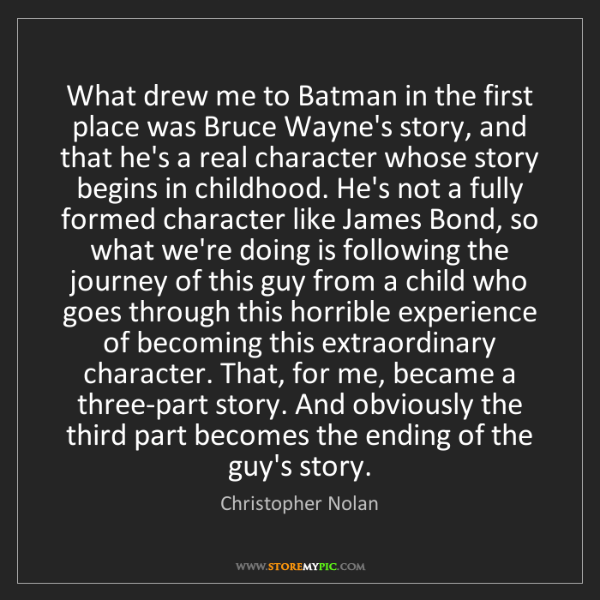 Christopher Nolan: What drew me to Batman in the first place was Bruce Wayne's...