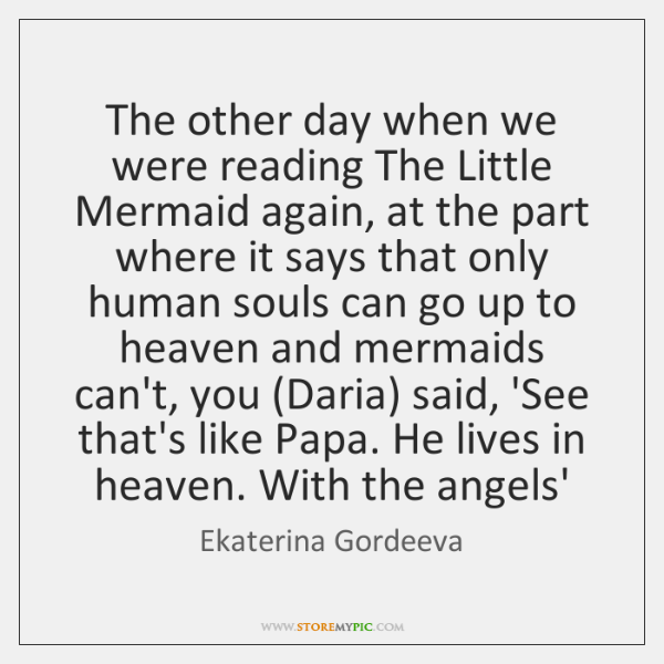 The other day when we were reading The Little Mermaid again, at ...