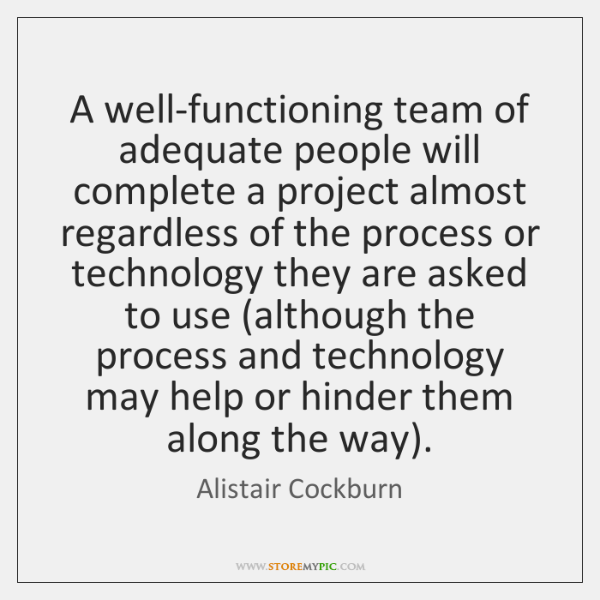 A well-functioning team of adequate people will complete a project almost regardless ...