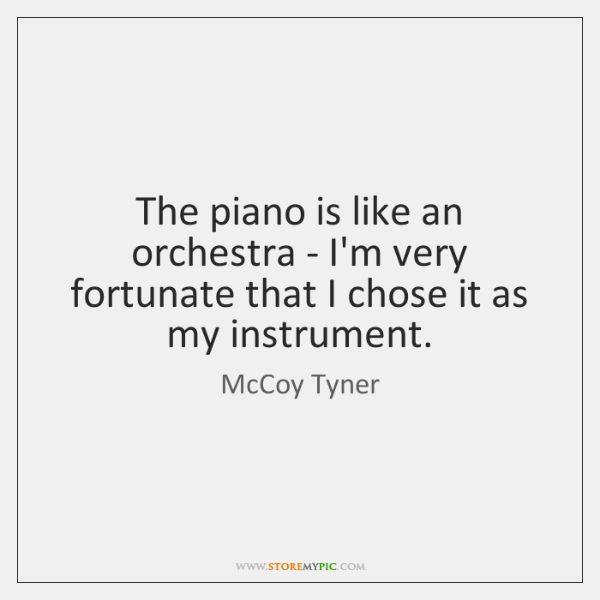 The piano is like an orchestra - I'm very fortunate that I ...