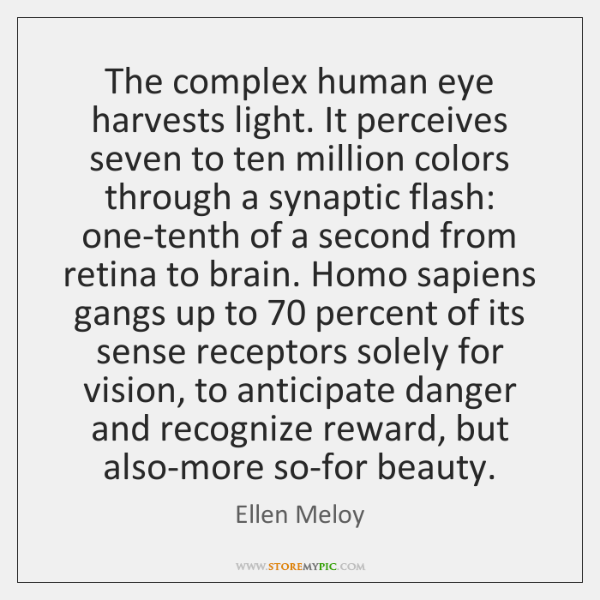 The complex human eye harvests light. It perceives seven to ten million ...