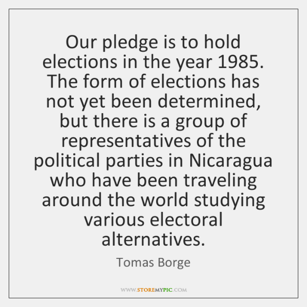 Our pledge is to hold elections in the year 1985. The form of ...