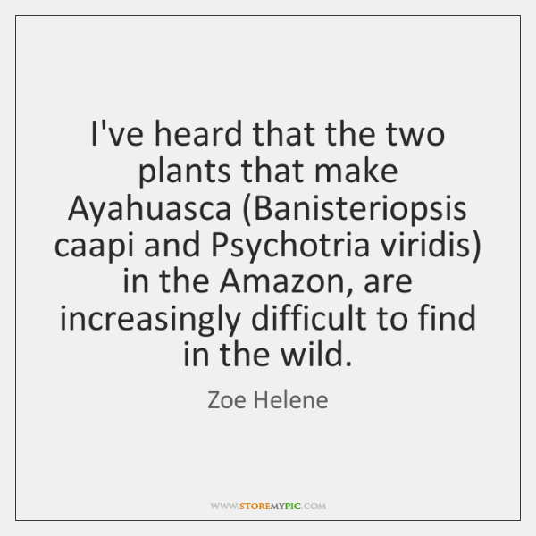 I've heard that the two plants that make Ayahuasca (Banisteriopsis caapi and ...