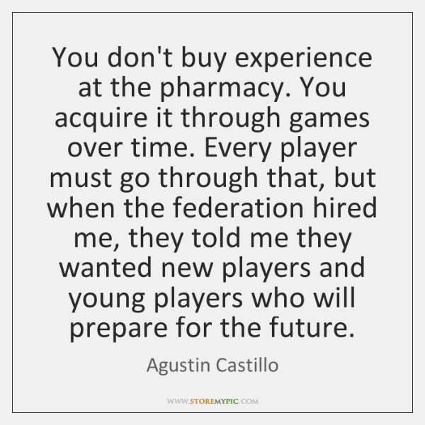 You don't buy experience at the pharmacy. You acquire it through games ...