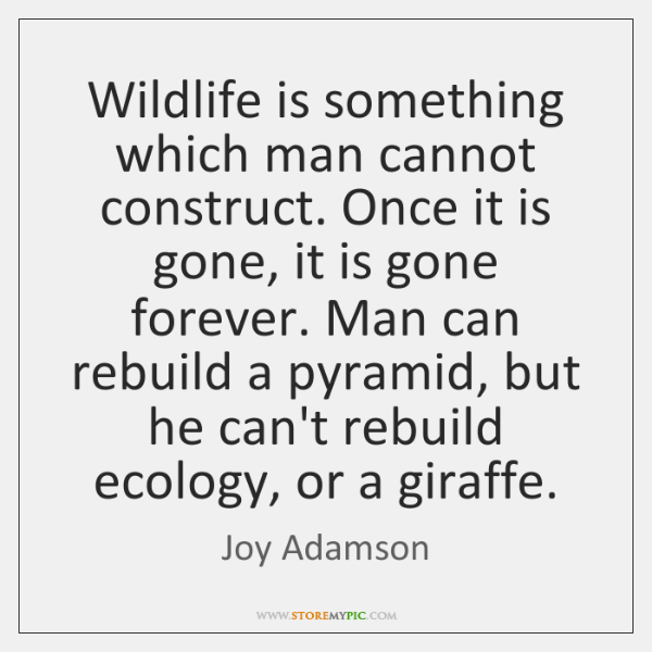 Wildlife is something which man cannot construct. Once it is gone, it ...