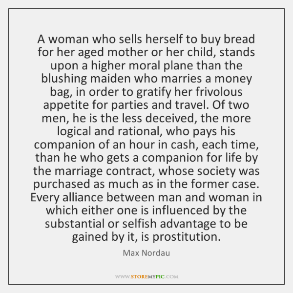 A woman who sells herself to buy bread for her aged mother ...