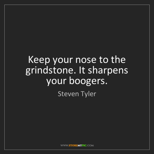 Steven Tyler: Keep your nose to the grindstone. It sharpens your boogers.