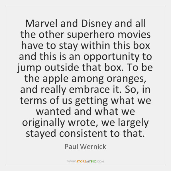 Marvel and Disney and all the other superhero movies have to stay ...