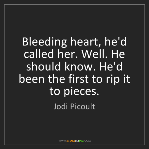 Jodi Picoult: Bleeding heart, he'd called her. Well. He should know....