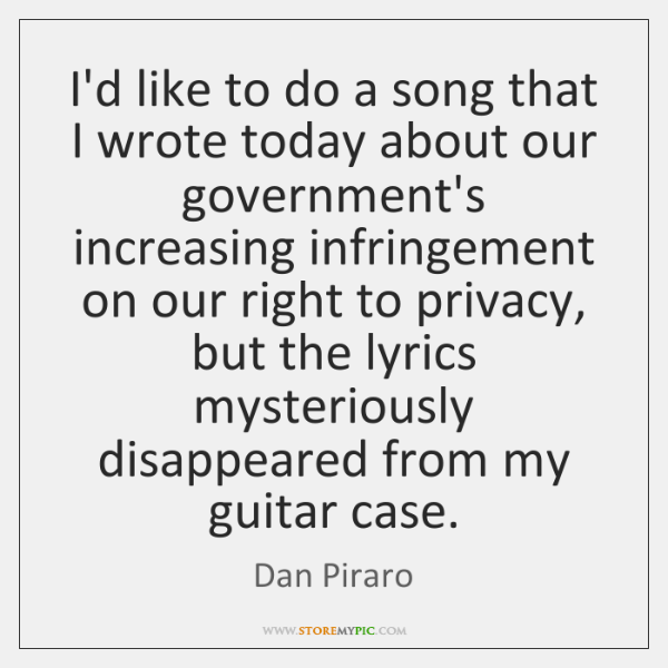 I'd like to do a song that I wrote today about our ...