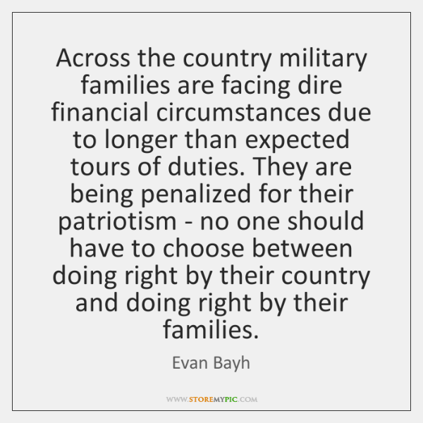 Across the country military families are facing dire financial circumstances due to ...