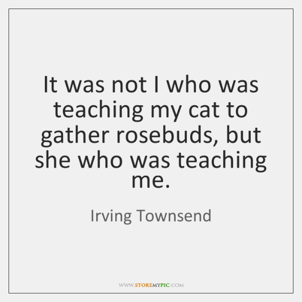 It was not I who was teaching my cat to gather rosebuds, ...