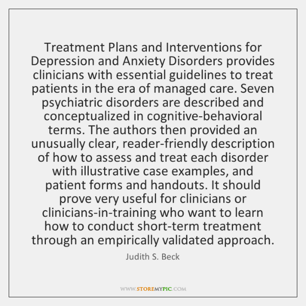 Treatment Plans and Interventions for Depression and Anxiety Disorders provides clinicians with ...