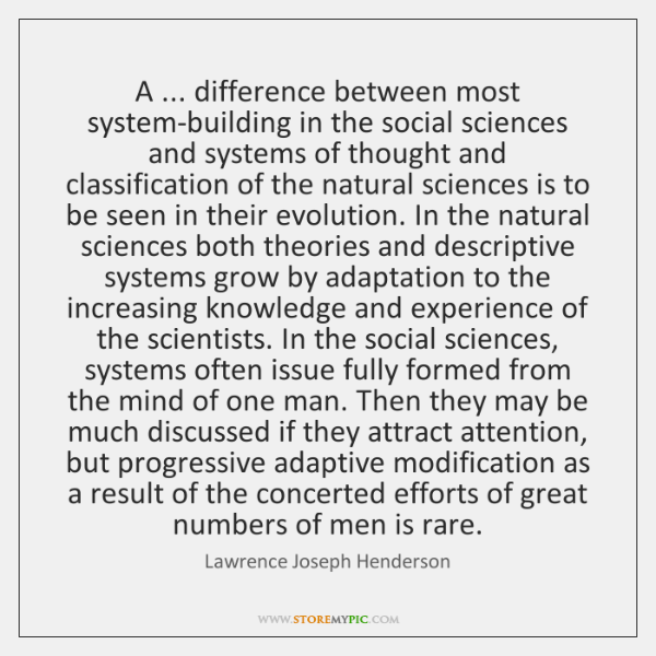 A ... difference between most system-building in the social sciences and systems of ...