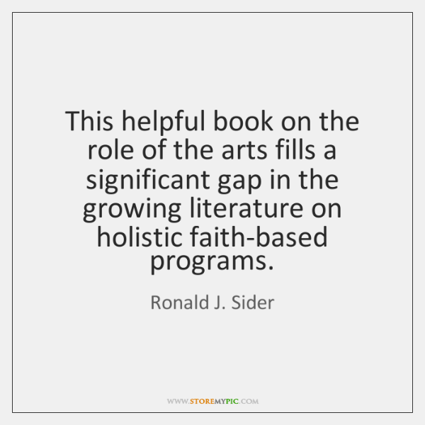 This helpful book on the role of the arts fills a significant ...