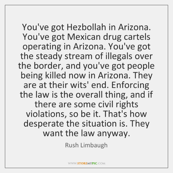 You've got Hezbollah in Arizona. You've got Mexican drug cartels operating in ...