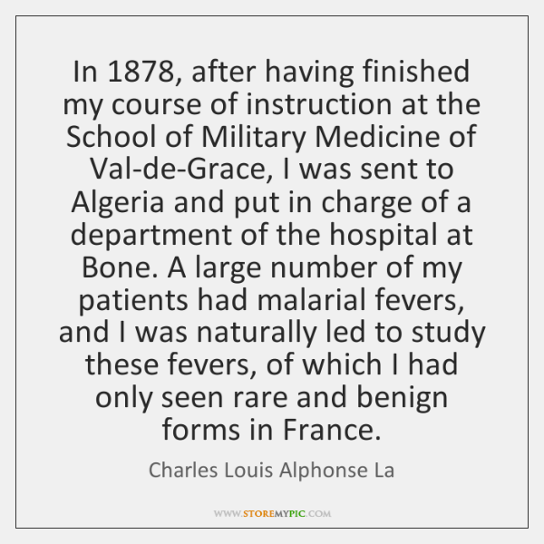 In 1878, after having finished my course of instruction at the School of ...