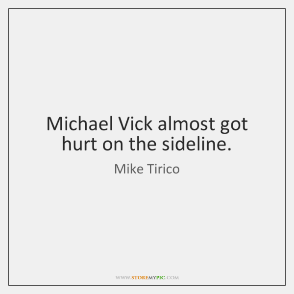 Michael Vick almost got hurt on the sideline.