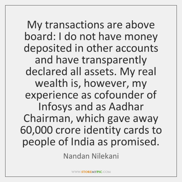 My transactions are above board: I do not have money deposited in ...