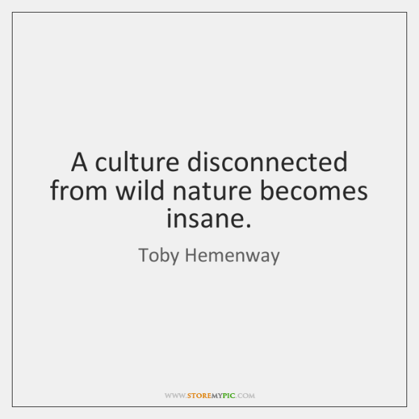 A culture disconnected from wild nature becomes insane.