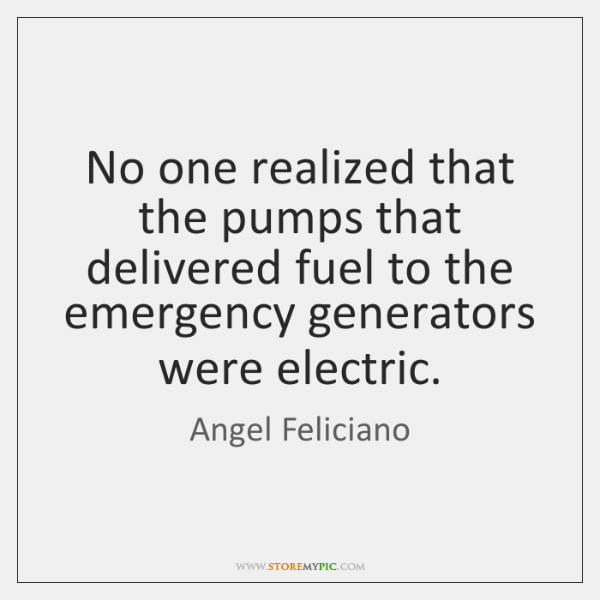 No one realized that the pumps that delivered fuel to the emergency ...